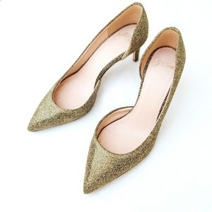 J. Crew Gold Italian Colette Pointed Toe Pumps